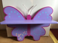Lovely Wooden Purple Butterfly Shelf For Girls Room