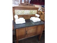 Marble Top Washstand with pretty Tile Splash Back & Cupboard.Perfect for Bathroom orBedroom