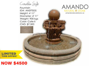 SPECIAL OFFER! Handcrafted natural stone Corinthian fountain