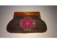 Cute embroidered fabric and wood clutch bag, vintage style