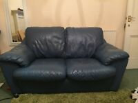 Leather Sofa with chair and storage foot rest