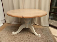 Vintage Round Pine Dining Table