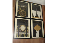 Stylish Paris Prints Framed, Set of 4 from 'Obvious State' Studio - Quick Sale!