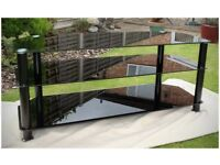 Black glass Tv stand for large widescreen Tv's / cable box etc - excellent