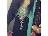 Black and teal salwar kameez