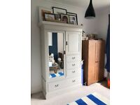 Vintage Shabby Chic Oak Wardrobe / Armoire with Drawers painted in Farrow & Ball