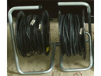 2 x 45 mtrs of Black High Quality 6.0mm XLR Cable on cable reels with neutrik xlr male & female ends