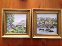2 Framed hand painted tile country scene - made in England