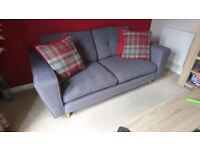 DFS grey 3 seater sofa and swivel chair