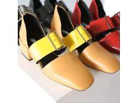 Jil Sander Style Buckle Up Block Heels Hasp Square Sandals Shoes