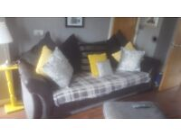 2 large 4 seater dfs sofas and 2 footstools