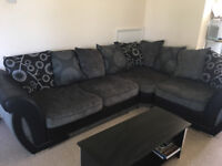 Shannon Faux Leather & Fabric Corner Sofa - Black