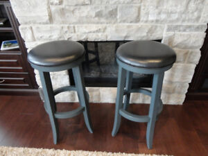 Pair of Solid Wood & Faux Black Leather Padded Seat Bar Stools