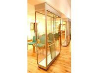 LUXURY QUALITY MODERN LARGE ALUMINIUM AND GLASS LOCKABLE SHOP DISPLAY CASES WITH SHELVES V.G.C.