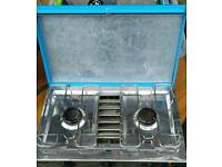 Gaz double camping stove with grill