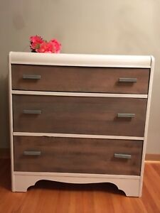 Beautifully updated antique three drawer dresser!