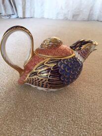 QUAIL *TEAPOT* Royal Crown Derby Imari Pattern 1316 Porcelain ❤