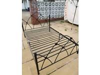 Double bed frame, black metal