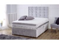 ★★ CHOICE OF COLORS ★★ DOUBLE CRUSHED VELVET DIVAN BED BASE WITH DEEP QUILTED MATTRESS