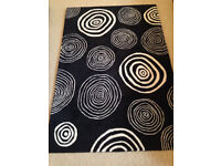 John Lewis 'Magic Circles' Black Rug with White Circles (180 x 120cm) (excellent condition) REDUCED
