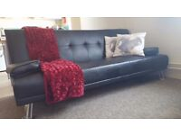Black faux leather 3 seater sofa bed