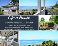 OPEN HOUSE: Beautiful Ocean Front Home Blocks From White Rock Be
