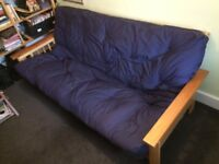 THREE-SEATER FUTON SOFA BED, SOLID WOOD, LIGHT USE