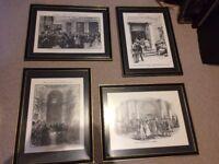 Set of 4 framed prints / black & white images of old London stock exchange