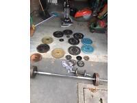 Weight bench, bars, dunbells , steel iron weight plates gym bodybuilding