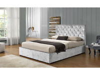 designer Velvet Frame King Size Storage gas lift Upholstered Bed Romanconrad collection