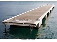 Mooring Jetty Or Pontoons For A Lake. Boats Jet ski Out Board Water Sea Float Dock Barge Pontoon