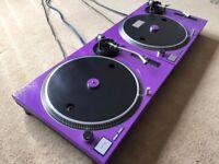 2 X Technics SL-1210 MK2 Turntables With Custom Purple Covers