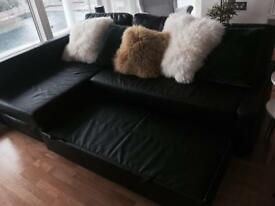 Black leather bed sofa