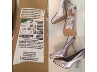 M&S Brand New Limited Collection Silver High Heel Shoes U.K. Size 4 Euro 37
