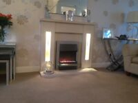 Beautiful marble fire surround with electric fire