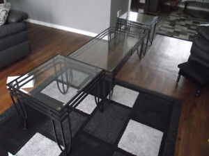 Wrought Iron/Glass Coffee and End Tables