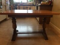 Solid oak chunky kitchen table and 4 chairs