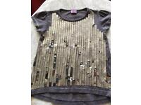 Girls Grey silver sequin party top t-shirt 3-4 years