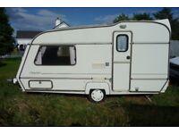ABI Award Daystar Prestige 14ft 2 berth caravan, 1992 with gas cooker, fridge, awning and toilet