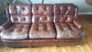 Beautiful antique brown leather couch
