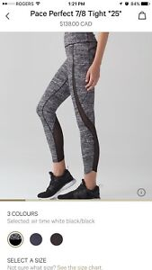 Lululemon pace perfect 7/8 tights size 6