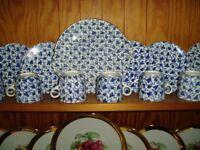 Tea Set, blue & white, probably Victorian, 26 pieces.