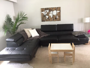 Sectional - Black faux leather