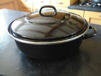 LARGE ENAMELLED CASSEROLE