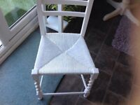 ANTIQUE WICKER CHAIR IN PERFECT CONDITION, FRESHLY PAINTED IN A SILK WHITE PAINT, STRONG CHAIR