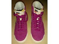 Nike Women's Blazer High Top Suede Trainers - Raspberry SIZE 4