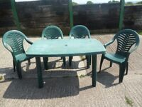 4 x Green Garden Chairs and Plastic Table Delivery available