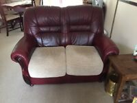 Burgundy Italian leather Sofa x 2 plus footstool