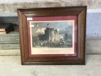 Small Old Framed Print Of Bonnie Prince Charlie & Battle Of Falkirk