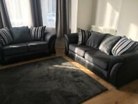 3 + 2 Seater Shannon Sofa Black / Grey (4 mnths old) Suite Streatham
